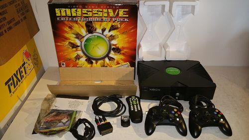 Microsoft Xbox Classic 'Massive Entertainment Pack' with controllers, dvd-remote, etc....